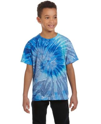 H1000b tie dye Youth Tie-Dyed Cotton Tee BLUE JERRY