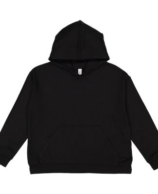 L2296 LA T Youth Fleece Hooded Pullover Sweatshirt BLACK