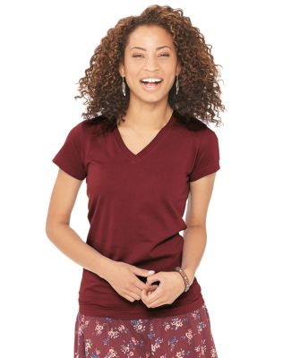 L3607 LA T Juniors' Fine Jersey V-Neck Longer Length T-Shirt Catalog