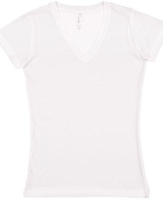 L3607 LA T Juniors' Fine Jersey V-Neck Longer Leng WHITE