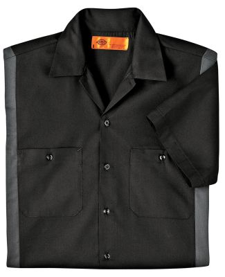 LS524 Dickies Adult Industrial Color Block Shirt BLACK/ CHARCOAL