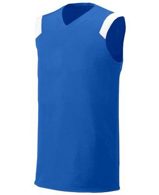 N2340 A4 Adult Moisture Management V-neck Muscle Royal/White