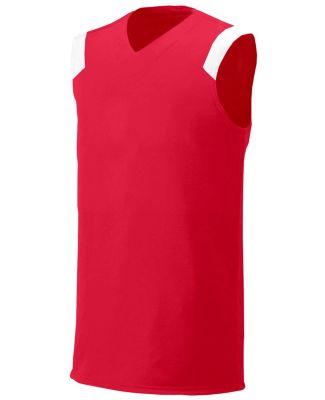 N2340 A4 Adult Moisture Management V-neck Muscle Scarlet/White