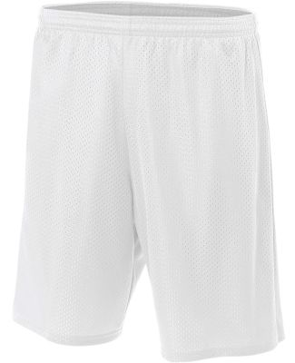 N5296 A4 Adult Lined Tricot Mesh Shorts White