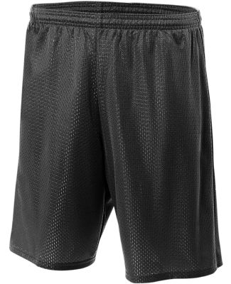 N5296 A4 Adult Lined Tricot Mesh Shorts BLACK