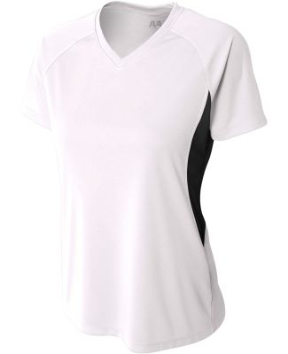 NW3223 A4 Women's Color Blocked Performance V-Neck White/Black
