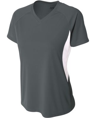 NW3223 A4 Women's Color Blocked Performance V-Neck Graphite/White