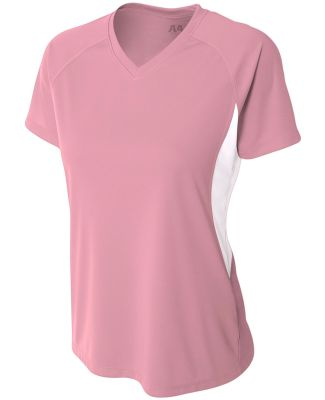 NW3223 A4 Women's Color Blocked Performance V-Neck PINK/ WHITE
