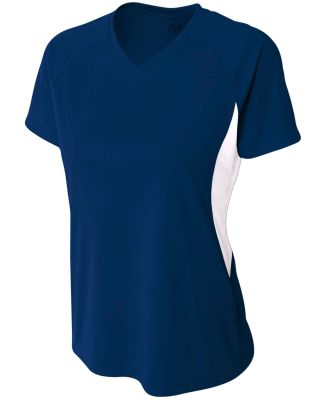 NW3223 A4 Women's Color Blocked Performance V-Neck Navy/White