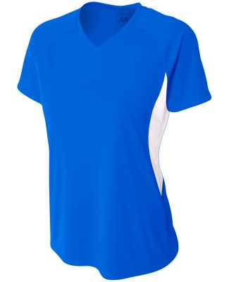 NW3223 A4 Women's Color Blocked Performance V-Neck Royal/White