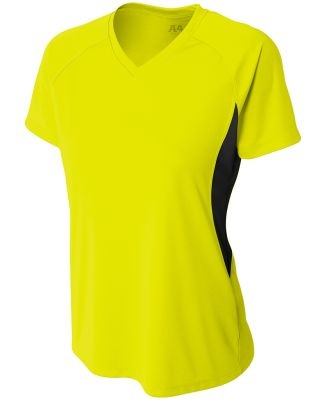 NW3223 A4 Women's Color Blocked Performance V-Neck SFTY YELLOW/ BLK