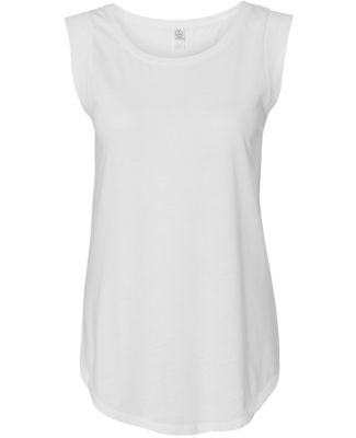 Alternative Apparel 4013 Ladies' Cap-Sleeve T-shir WHITE