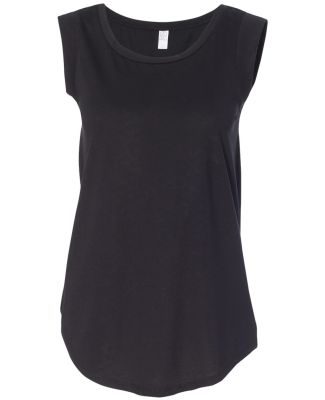 Alternative Apparel 4013 Ladies' Cap-Sleeve T-shir BLACK