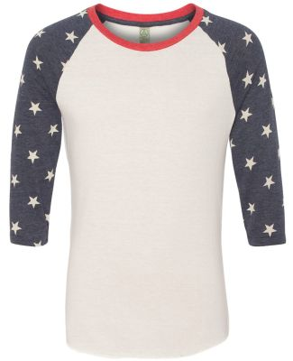 Alternative Apparel AA2089 Mens Baseball Tee ECO IVORY/ STARS
