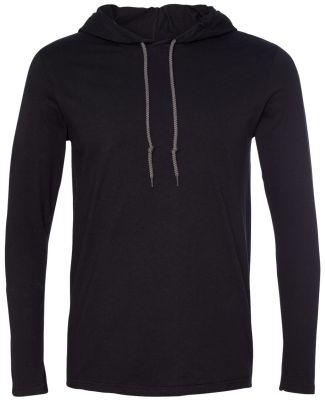 987 Anvil Ringspun Long-Sleeve Hooded T-Shirt Black