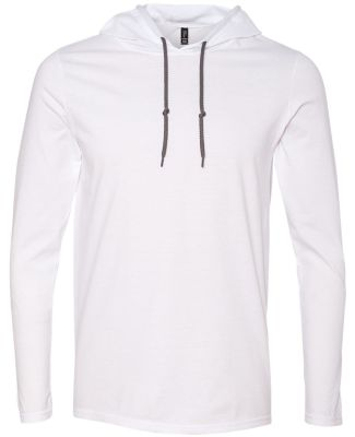 987 Anvil Ringspun Long-Sleeve Hooded T-Shirt White