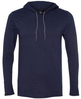 987 Anvil Ringspun Long-Sleeve Hooded T-Shirt Navy