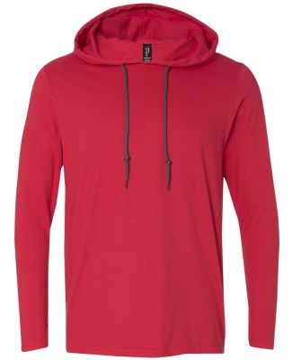 987 Anvil Ringspun Long-Sleeve Hooded T-Shirt Red