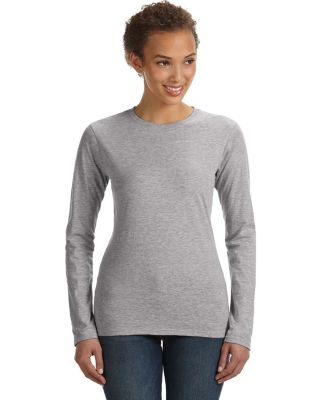 374L Anvil Ladies' Junior Fit Ringspun Long-Sleeve HEATHER GREY