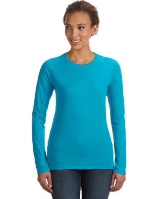 374L Anvil Ladies' Junior Fit Ringspun Long-Sleeve Caribbean Blue (Discontinued)