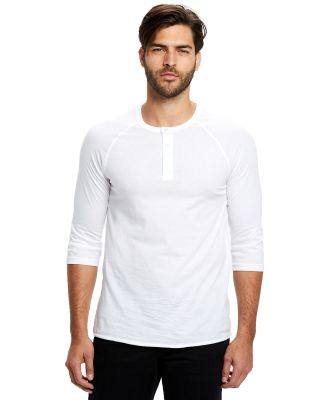 US7779 US Blanks Raglan Henley White