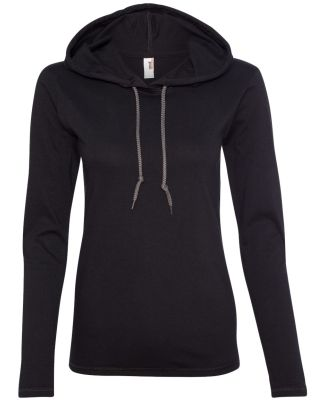 887L Anvil Ladies' Ringspun Long-Sleeve Hooded T-S Black