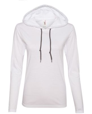 887L Anvil Ladies' Ringspun Long-Sleeve Hooded T-S White