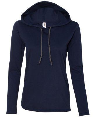887L Anvil Ladies' Ringspun Long-Sleeve Hooded T-S Navy