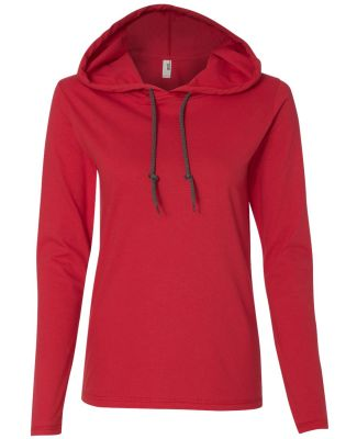 887L Anvil Ladies' Ringspun Long-Sleeve Hooded T-S Red