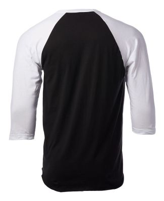 Tultex 0245TC Unisex Fine Jersey Raglan Tee Black/White