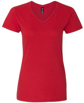 88VL Anvil - Missy Fit Ringspun V-Neck T-Shirt Red