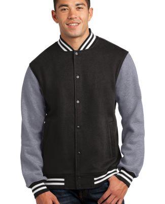 Sport-Tek Fleece Letterman Jacket ST270 Black/Vnt Hthr