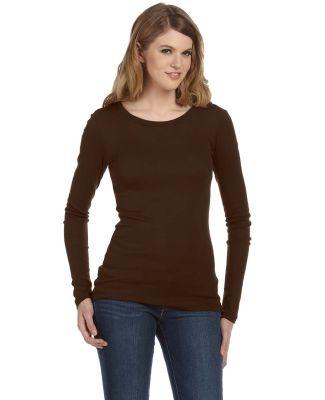 BELLA 8751 Sheer Ribbed Long Sleeve T-shirt CHOCOLATE