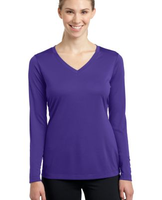 LST353LS Sport-Tek® Ladies Long Sleeve V-Neck Com Purple