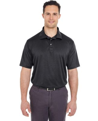 8220 UltraClub Men's Cool & Dry Jacquard Stripe Po BLACK