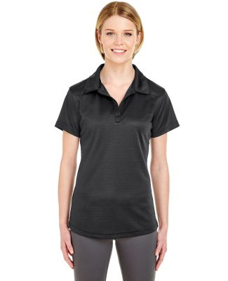 8820L UltraClub Ladies' Cool & Dry Jacquard Stripe BLACK