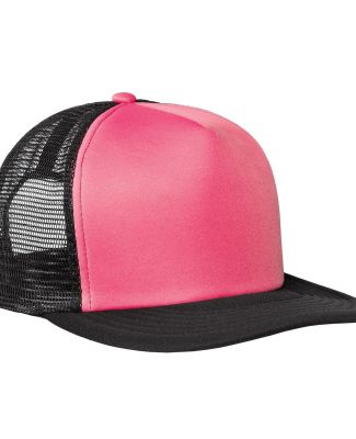 DT624 - District Flat Bill Snapback Trucker Cap Neon Pink
