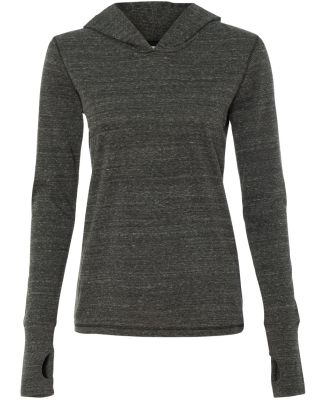 W3101 All Sport Ladies Triblend Thumbhole Hooded T Charcoal Heather Triblend