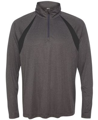 M3026 All Sport Men's Quarter-Zip Lightweight Pull Dark Grey Heather/ Black