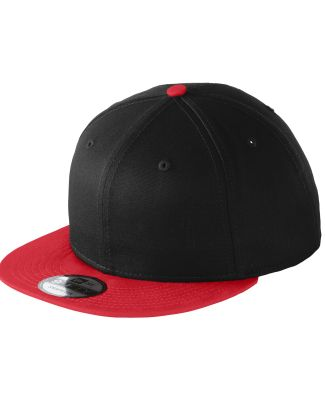 NE400 New Era® - Flat Bill Snapback Cap Black/Scarlet