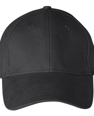 136 Anvil Cotton Solid Six-Panel Brushed Twill Cap Black
