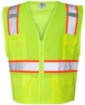 1163-1164 ML Kishigo - Solid Front Vest with Mesh  Lime
