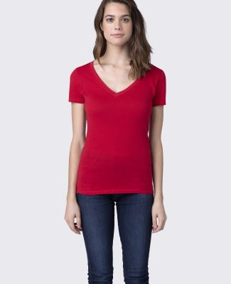 LC1125 Cotton Heritage Juniors V-Neck Tee Red
