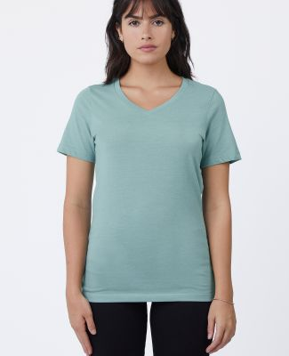 HC1125 Cotton Heritage Womens V-Neck Tee Seafoam Heather