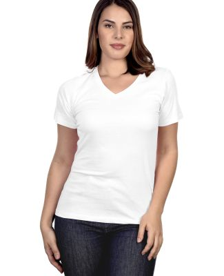 HC1125 Cotton Heritage Womens V-Neck Tee White