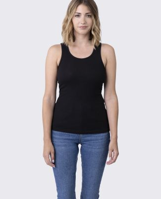 LC7703 Cotton Heritage Juniors Ribbed Tank Black