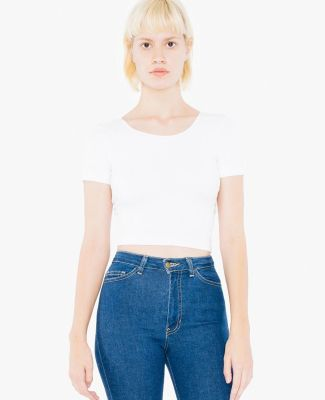 American Apparel SA8380W Ladies' Cotton Spandex Short-Sleeve Crop Top White