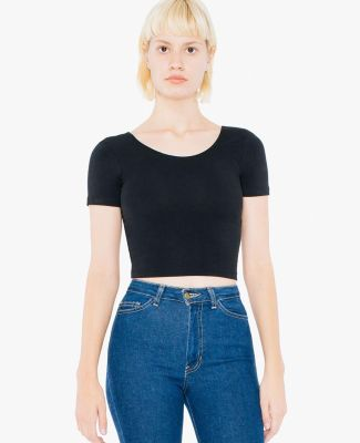 American Apparel SA8380W Ladies' Cotton Spandex Short-Sleeve Crop Top Black