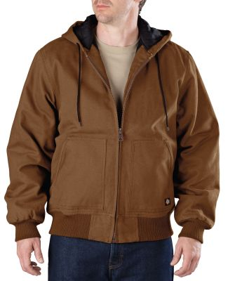 Dickies Workwear TJ245T Men's Tall Sanded Duck Hooded Jacket BROWN DUCK