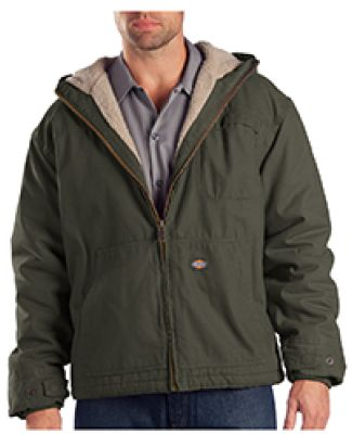 Dickies Workwear TJ350T 8.5 oz. Sanded Duck Sherpa Lined Hooded Jacket BLACK OLIVE